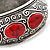 Burn Silver Effect Red Ceramic Stone Hammered Hinged Bangle - up to 19cm wrist - view 3