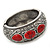 Burn Silver Effect Red Ceramic Stone Hammered Hinged Bangle - up to 19cm wrist - view 7