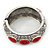 Burn Silver Effect Red Ceramic Stone Hammered Hinged Bangle - up to 19cm wrist - view 8