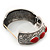 Burn Silver Effect Red Ceramic Stone Hammered Hinged Bangle - up to 19cm wrist - view 4