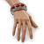 Burn Silver Effect Red Ceramic Stone Hammered Hinged Bangle - up to 19cm wrist - view 2