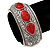 Burn Silver Effect Red Ceramic Stone Hammered Hinged Bangle - up to 19cm wrist - view 5