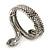 Burn Silver Vintage Inspired Textured Coiled Snake Hinged Bangle Bracelet - 18cm Length - view 5