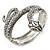 Burn Silver Vintage Inspired Textured Coiled Snake Hinged Bangle Bracelet - 18cm Length - view 7