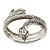 Burn Silver Vintage Inspired Textured Coiled Snake Hinged Bangle Bracelet - 18cm Length - view 8