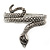 Burn Silver Vintage Inspired Textured Coiled Snake Hinged Bangle Bracelet - 18cm Length - view 9