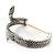 Burn Silver Vintage Inspired Textured Coiled Snake Hinged Bangle Bracelet - 18cm Length - view 6