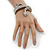 Burn Silver Vintage Inspired Textured Coiled Snake Hinged Bangle Bracelet - 18cm Length - view 4