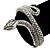 Burn Silver Vintage Inspired Textured Coiled Snake Hinged Bangle Bracelet - 18cm Length - view 3