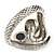Vintage Inspired AB/ Clear Swarovski Crystal Cobra Snake Hinged Bangle Bracelet In Burn Silver Metal - 18cm Length - view 6