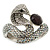 Vintage Inspired AB/ Clear Swarovski Crystal Cobra Snake Hinged Bangle Bracelet In Burn Silver Metal - 18cm Length - view 9
