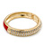 Red Enamel Clear Crystal Hinged Bangle Bracelet In Gold Plating - 19cm Length - view 7