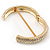 Red Enamel Clear Crystal Hinged Bangle Bracelet In Gold Plating - 19cm Length - view 5