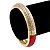 Red Enamel Clear Crystal Hinged Bangle Bracelet In Gold Plating - 19cm Length - view 2