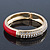 Red Enamel Clear Crystal Hinged Bangle Bracelet In Gold Plating - 19cm Length - view 4
