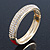 Red Enamel Clear Crystal Hinged Bangle Bracelet In Gold Plating - 19cm Length - view 6