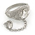 Statement Rhodium Plated Chunky Crystal Hinged Bangle With Oval Crystal Ring Attached - 18cm Length, Ring Size 7/8 - view 7