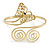 Gold Plated Filigree, Crystal Butterfly & Twirl Upper Arm, Armlet Bracelet - Adjustable - view 7