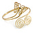 Gold Plated Filigree, Crystal Butterfly & Twirl Upper Arm, Armlet Bracelet - Adjustable - view 2