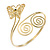 Gold Plated Filigree, Crystal Butterfly & Twirl Upper Arm, Armlet Bracelet - Adjustable - view 4