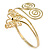 Gold Plated Filigree, Crystal Butterfly & Twirl Upper Arm, Armlet Bracelet - Adjustable - view 5