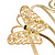 Gold Plated Filigree, Crystal Butterfly & Twirl Upper Arm, Armlet Bracelet - Adjustable - view 6