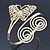 Gold Plated Filigree, Crystal Butterfly & Twirl Upper Arm, Armlet Bracelet - Adjustable - view 11