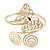 Gold Plated Filigree, Crystal Butterfly & Twirl Upper Arm, Armlet Bracelet - Adjustable - view 9