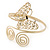Gold Plated Filigree, Crystal Butterfly & Twirl Upper Arm, Armlet Bracelet - Adjustable - view 19