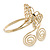 Gold Plated Filigree, Crystal Butterfly & Twirl Upper Arm, Armlet Bracelet - Adjustable - view 13