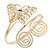 Gold Plated Filigree, Crystal Butterfly & Twirl Upper Arm, Armlet Bracelet - Adjustable - view 3