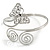 Silver Plated Filigree, Crystal Butterfly & Twirl Upper Arm, Armlet Bracelet - Adjustable - view 3