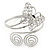 Silver Plated Filigree, Crystal Butterfly & Twirl Upper Arm, Armlet Bracelet - Adjustable - view 9