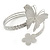 Silver Plated Hammered Butterfly & Flower Upper Arm, Armlet Bracelet - Adjustable - view 8