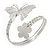 Silver Plated Hammered Butterfly & Flower Upper Arm, Armlet Bracelet - Adjustable - view 9
