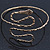 Egyptian Style Hammered Snake Upper Arm, Armlet Bracelet In Antique Gold Plating - Adjustable - view 5