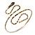 Egyptian Style Hammered Snake Upper Arm, Armlet Bracelet In Antique Gold Plating - Adjustable - view 4