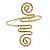 Greek Style Hammered Swirl Upper Arm, Armlet Bracelet In Gold Plating - Adjustable - view 2