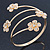 Gold Plated Crystal Daisy Upper Arm, Armlet Bracelet - Adjustable - view 7