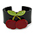 Black, Light Green, Red Crystal Cherry Acrylic Cuff Bracelet - 19cm L