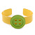 Yellow, Light Green Acrylic Button Cuff Bracelet - 19cm L