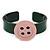 Dark Green, Pink Acrylic Button Cuff Bracelet - 19cm L