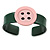 Dark Green, Pink Acrylic Button Cuff Bracelet - 19cm L - view 3
