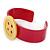 Magenta, Yellow Acrylic Button Cuff Bracelet - 19cm L - view 2
