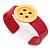 Magenta, Yellow Acrylic Button Cuff Bracelet - 19cm L - view 4