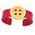 Magenta, Yellow Acrylic Button Cuff Bracelet - 19cm L - view 5