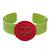 Light Green, Magenta Acrylic Button Cuff Bracelet - 19cm L