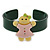Dark Green, Pink, Yellow Crystal Acrylic 'Gingerbread Girl' Cuff Bracelet - 19cm L