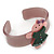 Beige, Pink, Dark Green Crystal Acrylic 'Gingerbread Girl' Cuff Bracelet - 19cm L - view 3
