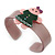 Beige, Pink, Dark Green Crystal Acrylic 'Gingerbread Girl' Cuff Bracelet - 19cm L - view 4